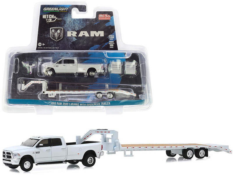 2018 Dodge Ram 3500 Laramie Pickup Truck Gooseneck Trailer White Hitch & Tow Series Limited Edition 2438 pieces Worldwide 1/64 Diecast Model Car Greenlight 51308