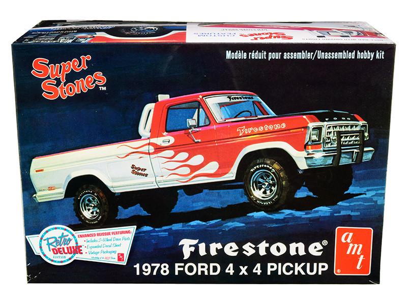 Skill 2 Model Kit 1978 Ford 4x4 Pickup Truck Firestone Super Stones 1/25 Scale Model AMT AMT858