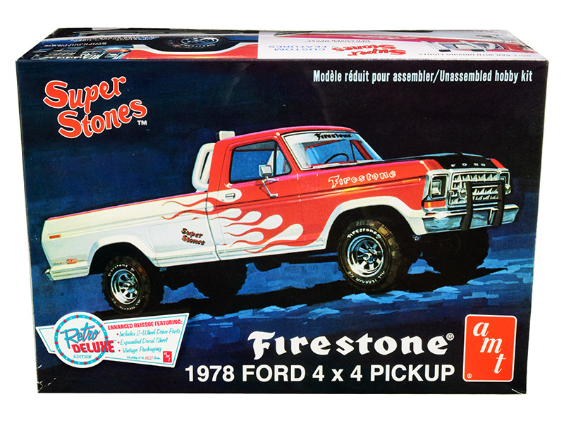 Skill 2 Model Kit 1978 Ford 4x4 Pickup Truck Firestone Super Stones 1/25 Scale Model AMT AMT858