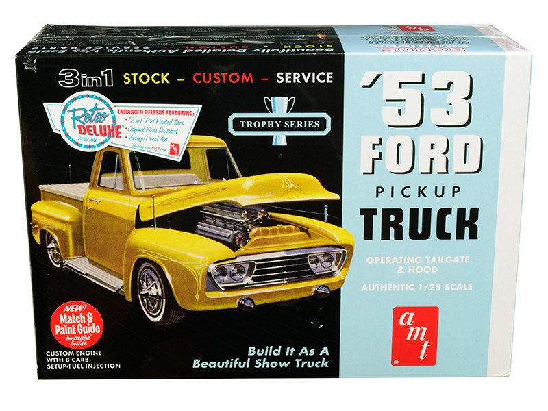 Skill 2 Model Kit 1953 Ford Pickup Truck Trophy Series 3 in 1 Kit 1/25 Scale Model AMT AMT882