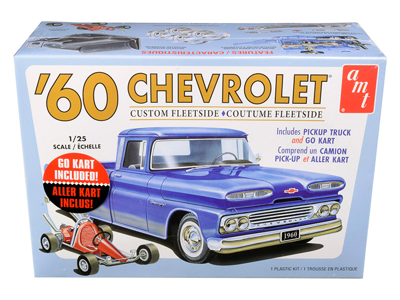 Skill 2 Model Kit 1960 Chevrolet Custom Fleetside Pickup Truck Go Kart 1/25 Scale Model AMT AMT1063 M