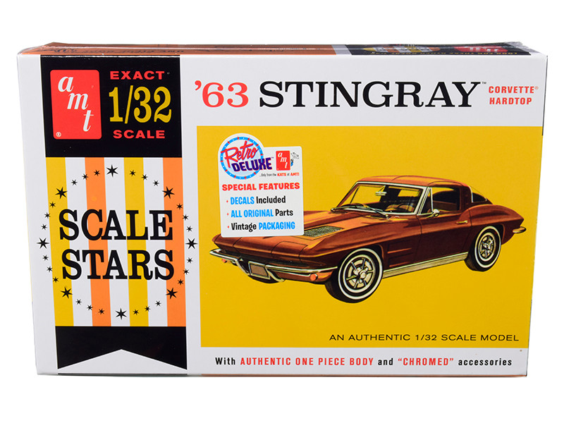 Skill 2 Model Kit 1963 Chevrolet Corvette Stingray Hardtop 1/32 Scale Model AMT AMT1112