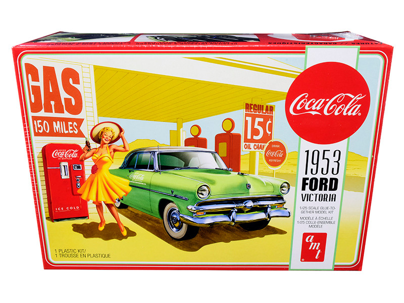 Skill 3 Model Kit 1953 Ford Victoria Hardtop Coca Cola Vending Machine 1/25 Scale Model AMT AMT1146 M