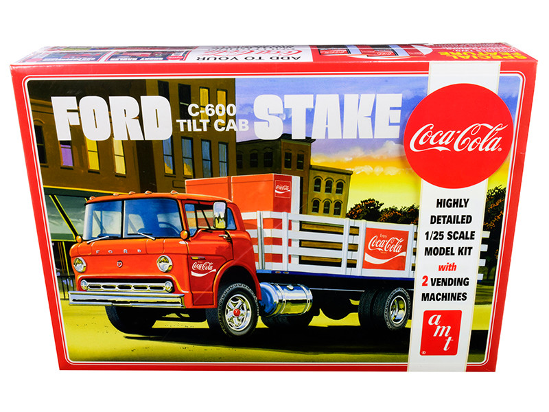 Skill 3 Model Kit Ford C600 Stake Bed Truck Two Coca Cola Vending Machines 1/25 Scale Model AMT AMT1147