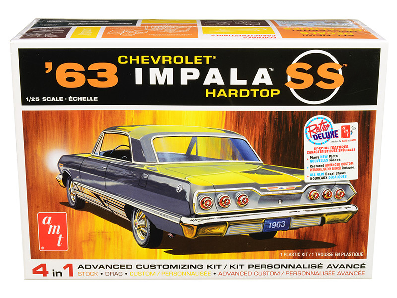 Skill 2 Model Kit 1963 Chevrolet Impala SS Hardtop 4 in 1 Kit 1/25 Scale Model AMT AMT1149 M