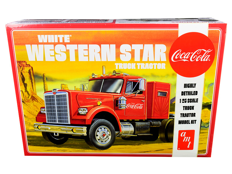 Skill 3 Model Kit White Western Star Semi Truck Tractor Coca Cola 1/25 Scale Model AMT AMT1160