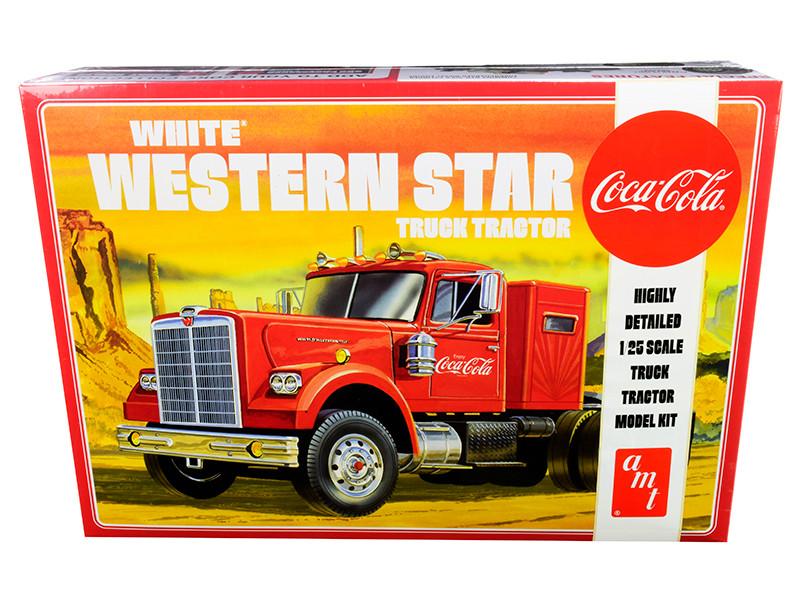 Skill 3 Model Kit White Western Star Semi Truck Tractor Coca Cola 1/25 Scale Model AMT AMT1160