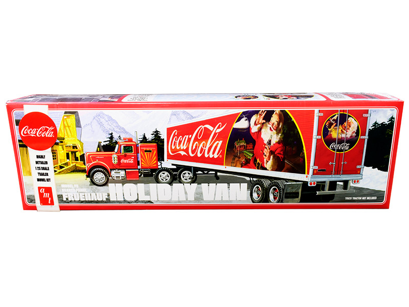 Skill 3 Model Kit Fruehauf FB Beaded Holiday Hauler Semi Van Trailer Coca Cola 1/25 Scale Model AMT AMT1165