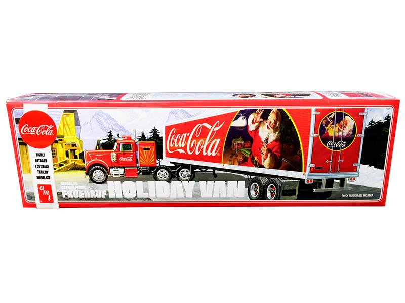 Skill 3 Model Kit Fruehauf FB Beaded Holiday Hauler Semi Van Trailer Coca Cola 1/25 Scale Model AMT AMT1165