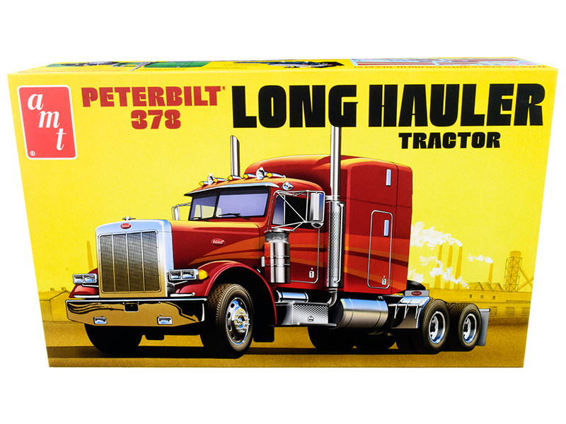Skill 3 Model Kit Peterbilt 378 Long Hauler Truck Tractor 1/24 Scale Model AMT AMT1169