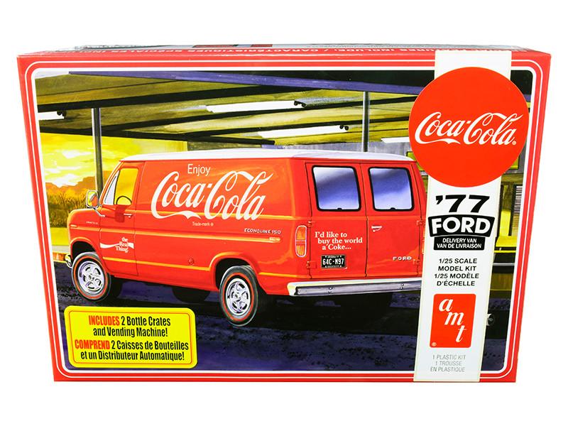 Skill 3 Model Kit 1977 Ford Delivery Van 2 Bottles Crates Vending Machine Coca Cola 1/25 Scale Model AMT AMT1173 M