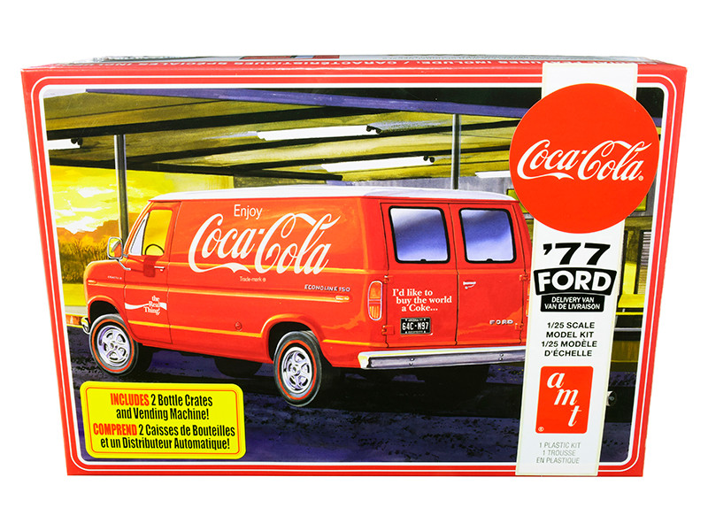 Skill 3 Model Kit 1977 Ford Delivery Van 2 Bottles Crates Vending Machine Coca Cola 1/25 Scale Model AMT AMT1173 M