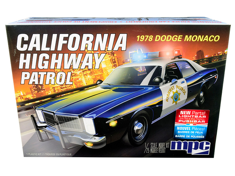 Skill 2 Model Kit 1978 Dodge Monaco CHP California Highway Patrol Police Car 1/25 Scale Model MPC MPC922 M
