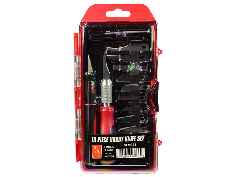 16 Piece Hobby Knife Set Skill 3 for Model Kits AMT SCM046