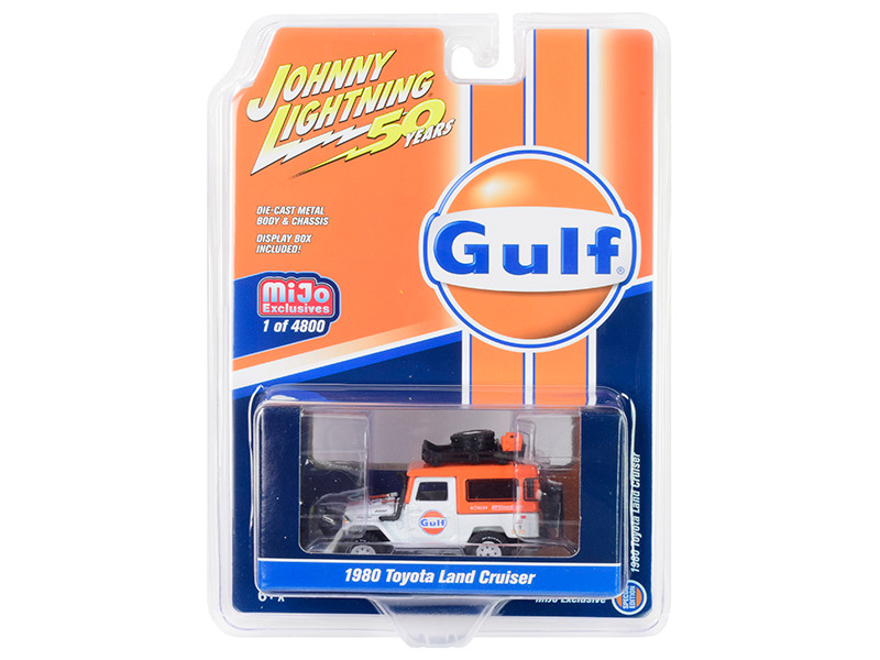1980 Toyota Land Cruiser Gulf Oil Orange White Accessories Johnny Lightning 50th Anniversary Limited Edition 4800 pieces Worldwide 1/64 Diecast Model Car Johnny Lightning JLCP7238