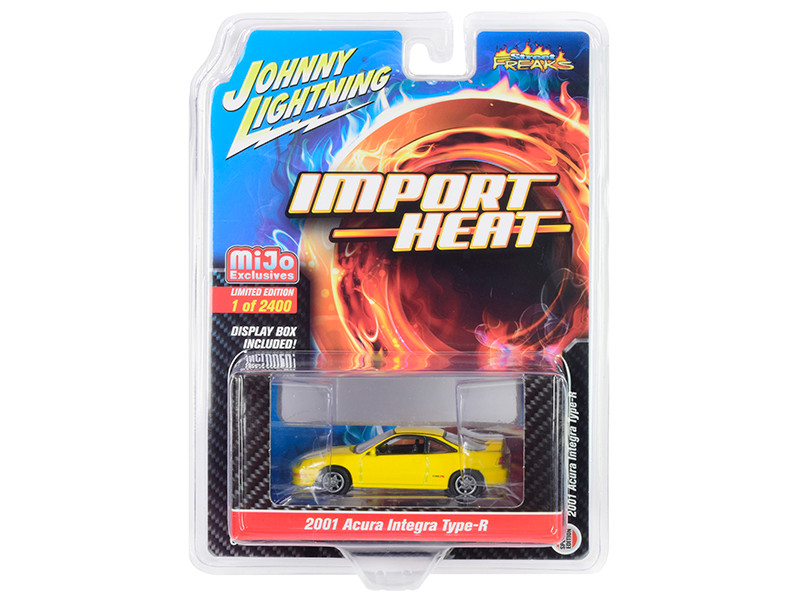 2001 Acura Integra Type R Yellow Import Heat Limited Edition 2400 pieces Worldwide 1/64 Diecast Model Car Johnny Lightning JLCP7251