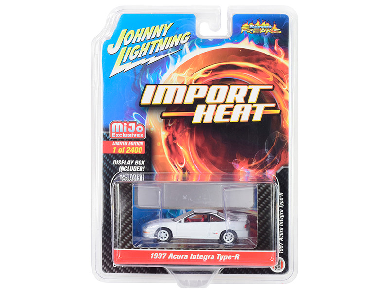 1997 Acura Integra Type R White Red Interior Import Heat Limited Edition 2400 pieces Worldwide 1/64 Diecast Model Car Johnny Lightning JLCP7252