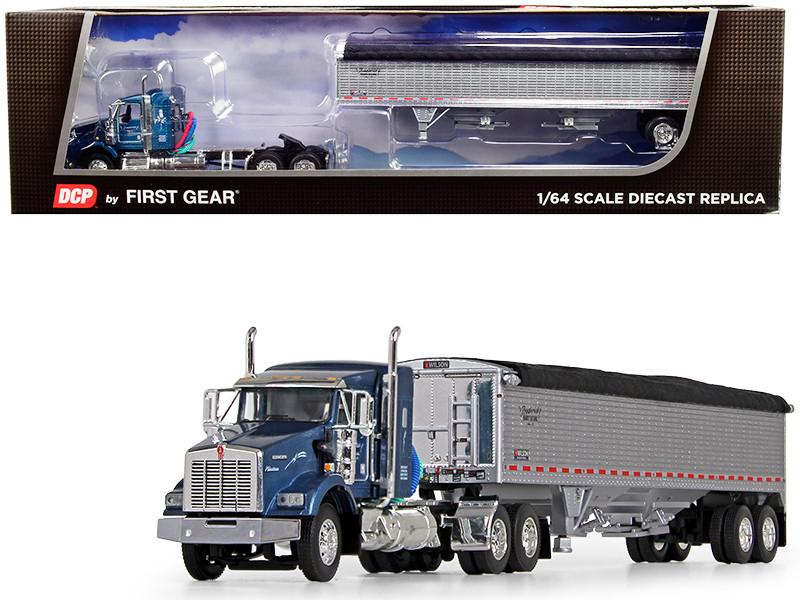 "Kenworth T800 38"" Sleeper Cab Wilson Pacesetter High Sided Grain Trailer Frederick Harvesting LLC Blue Metallic Chrome 1/64 Diecast Model DCP First Gear 60-0606"