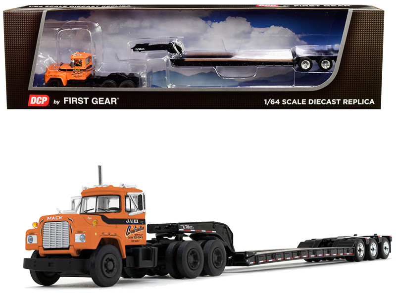 Mack R Day Cab Talbert Tri-Axle Lowboy Trailer J.V. III Construction Inc Orange 1/64 Diecast Model DCP First Gear 60-0672