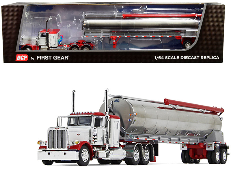 "Peterbilt 389 36"" Flattop Sleeper Cab Walinga Tandem-Axle Bulk Feed Trailer White Chrome 1/64 Diecast Model DCP First Gear 60-0724"