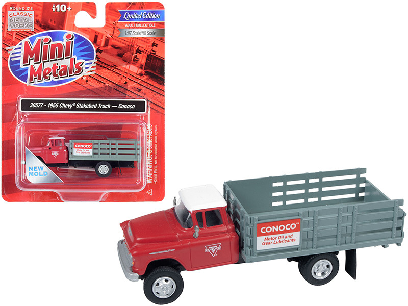 1955 Chevrolet Stakebed Truck Conoco Red Gray 1/87 HO Scale Model Classic Metal Works 30577