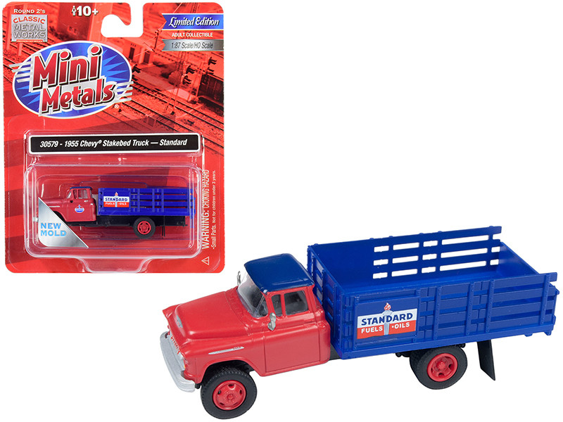 1955 Chevrolet Stakebed Truck Standard Oil Red Blue 1/87 HO Scale Model Classic Metal Works 30579