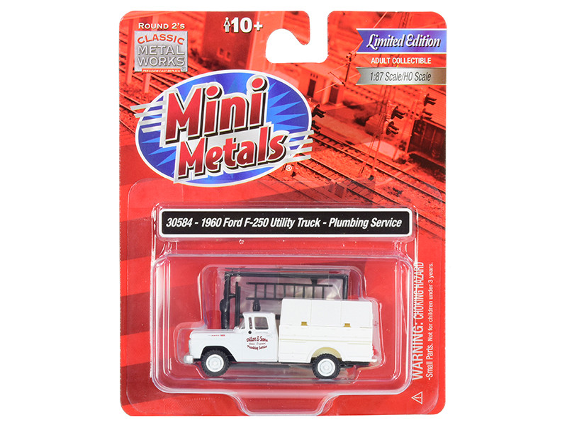 1960 Ford F-250 Utility Truck Plumbing Service White 1/87 HO Scale Model Classic Metal Works 30584