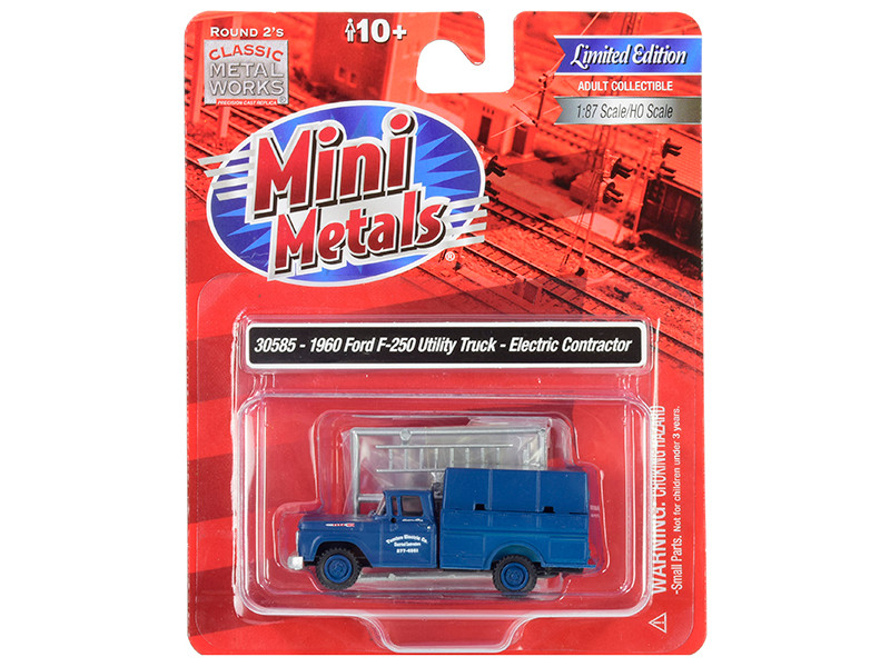 1960 Ford F-250 Utility Truck Electric Contractor Dark Blue 1/87 HO Scale Model Classic Metal Works 30585