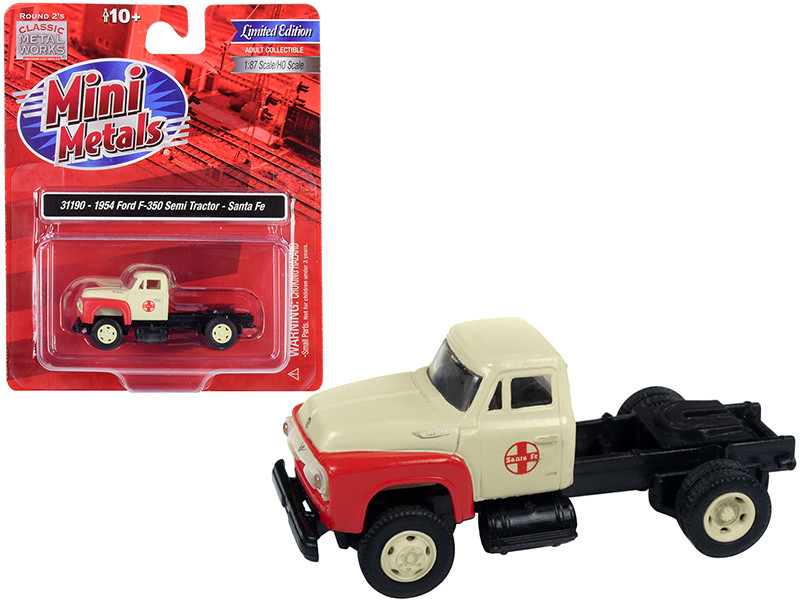 1954 Ford F-350 Semi Truck Tractor Santa Fe Cream Red 1/87 HO Scale Model Classic Metal Works 31190