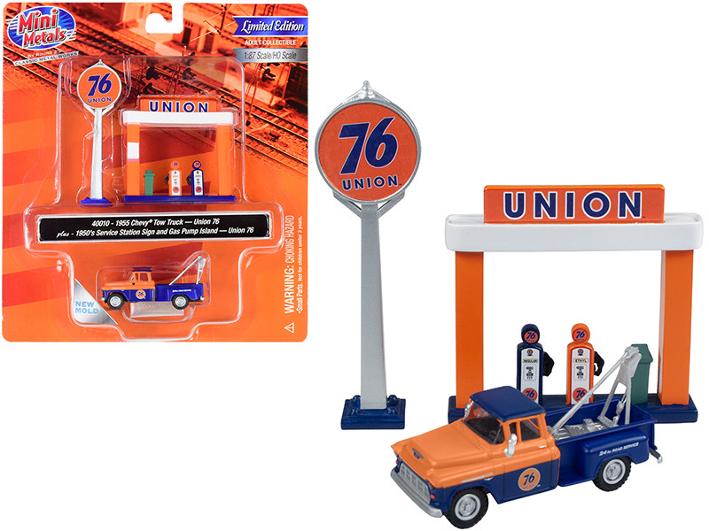 1955 Chevrolet Tow Truck Blue Orange 1950's Service Station Sign Gas Pump Island Union 76 1/87 HO Scale Model Classic Metal Works 40010
