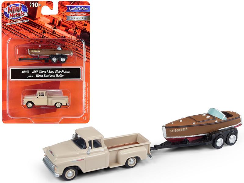 1957 Chevrolet Stepside Pickup Truck Beige Wood Boat Trailer 1/87 HO Scale Model Car Classic Metal Works 40013