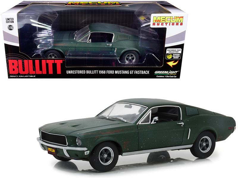 1968 Ford Mustang GT Fastback Green Unrestored Bullitt Kissimmee Florida 2020 Mecum Auctions Collector Cars 1/18 Diecast Model Car Greenlight 13551