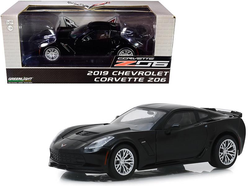 2019 Chevrolet Corvette Z06 Coupe Black 1/24 Diecast Model Car Greenlight 18255