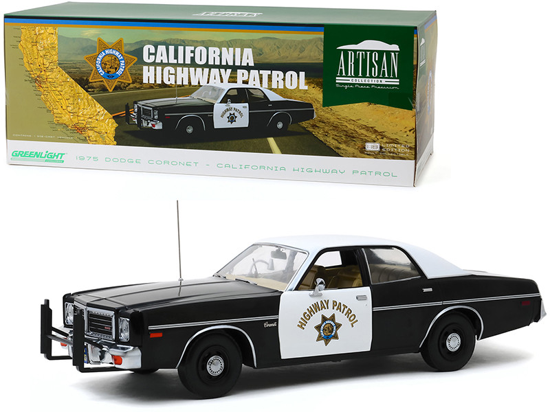 1975 Dodge Coronet Black White CHP California Highway Patrol 1/18 Diecast Model Car Greenlight 19075