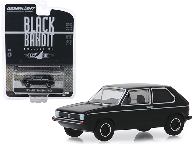 1976 Volkswagen Golf Mk1 Black Bandit Series 22 1/64 Diecast Model Car Greenlight 28010 C