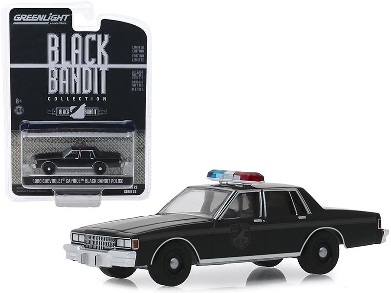 1980 Chevrolet Caprice Black Bandit Police Black Bandit Series 22 1/64 Diecast Model Car Greenlight 28010 D