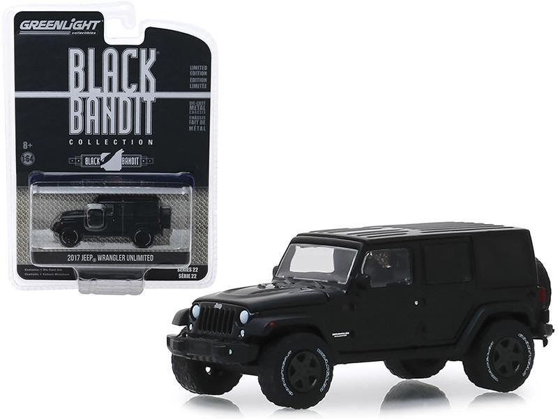 2017 Jeep Wrangler Unlimited Black Bandit Series 22 1/64 Diecast Model Car Greenlight 28010 E