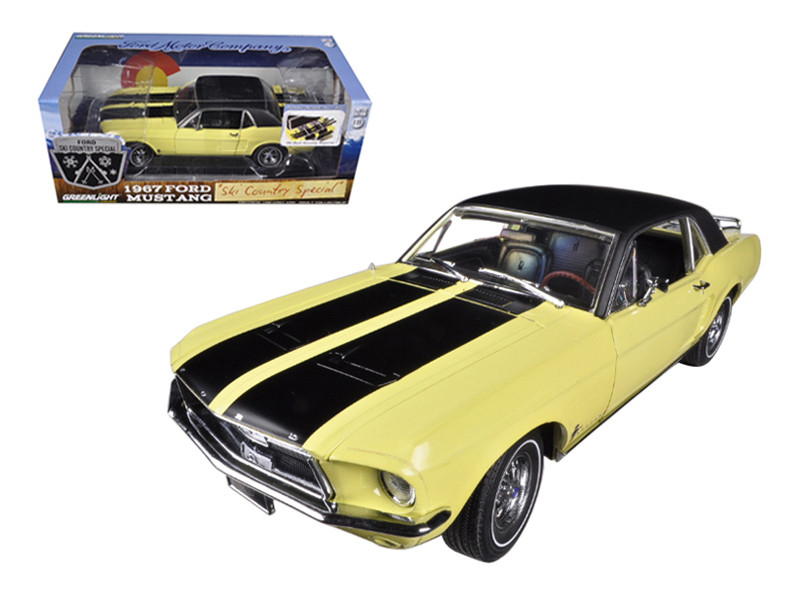 "1967 Ford Mustang Coupe ""Ski Country Special"" Breckenridge Yellow with Black Stripes and Black Vinyl Roof and a Pair of Skies 1/18 Greenlight 12925"