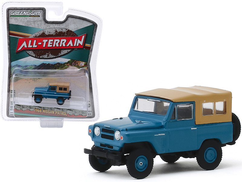 1968 Nissan Patrol Mt Fuji Blue Brown Top All Terrain Series 9 1/64 Diecast Model Car Greenlight 35150 A
