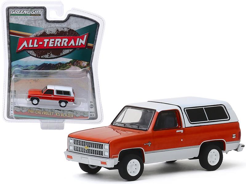 1981 Chevrolet K5 Blazer Burnt Orange Metallic Frost White All Terrain Series 9 1/64 Diecast Model Car Greenlight 35150 B