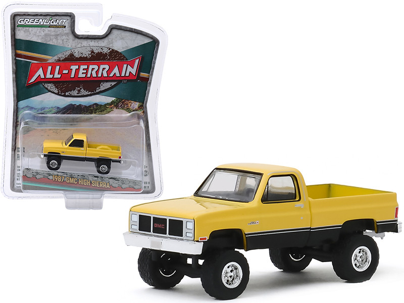 1987 GMC High Sierra Pickup Truck Colonial Yellow Black All Terrain Series 9 1/64 Diecast Model Car Greenlight 35150 C