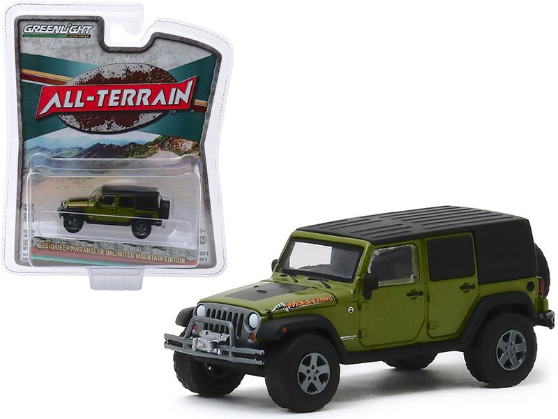 2010 Jeep Wrangler Unlimited Mountain Edition Rescue Green Metallic Black Top All Terrain Series 9 1/64 Diecast Model Car Greenlight 35150 E