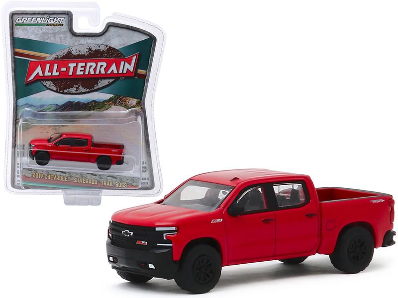 2019 Chevrolet Silverado Trail Boss Pickup Truck Red Hot All Terrain Series 9 1/64 Diecast Model Car Greenlight 35150 F