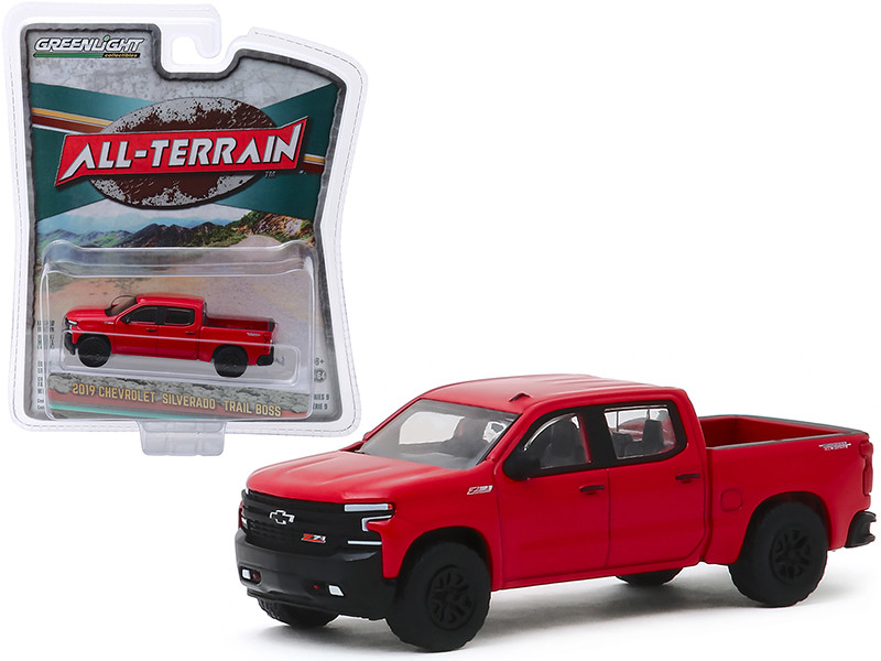 2019 Chevrolet Silverado Trail Boss Pickup Truck Red Hot All Terrain Series 9 1/64 Diecast Model Car Greenlight 35150 F