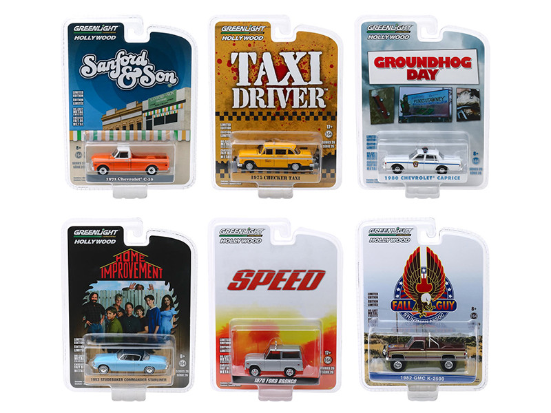 Hollywood Series Release 26 Set of 6 pieces 1/64 Diecast Model Cars Greenlight 44860