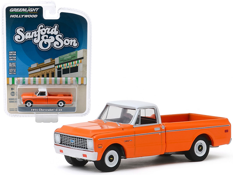 1971 Chevrolet C-10 Pickup Truck Orange White Top Sanford and Son 1972 1977 TV Series Hollywood Series Release 26 1/64 Diecast Model Car Greenlight 44860 A