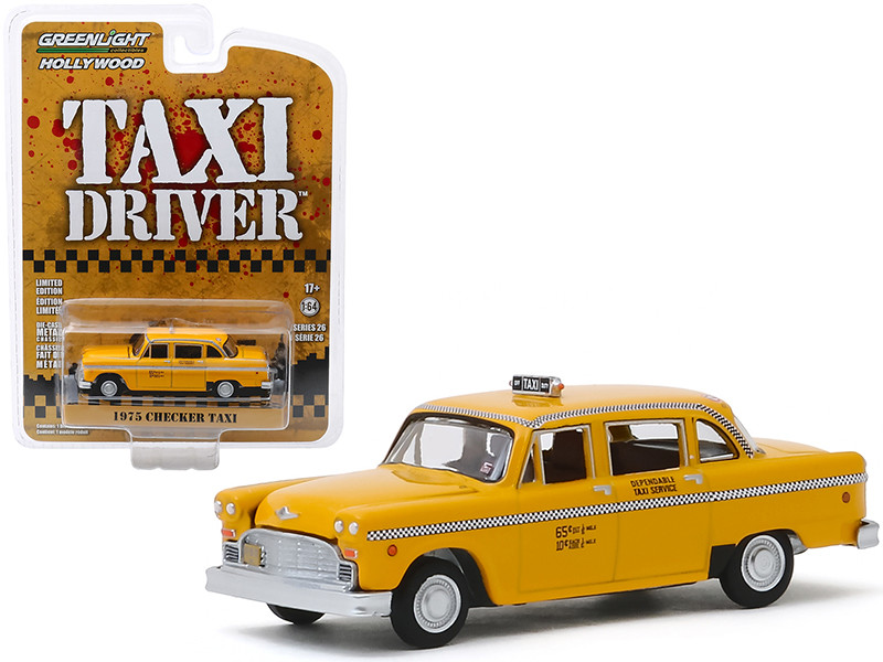 1975 Checker Taxicab Yellow Travis Bickle's Taxi Driver 1976 Movie Hollywood Series Release 26 1/64 Diecast Model Car Greenlight 44860 B