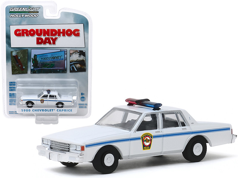 1980 Chevrolet Caprice White Punxsutawney Police Groundhog Day 1993 Movie Hollywood Series Release 26 1/64 Diecast Model Car Greenlight 44860 C