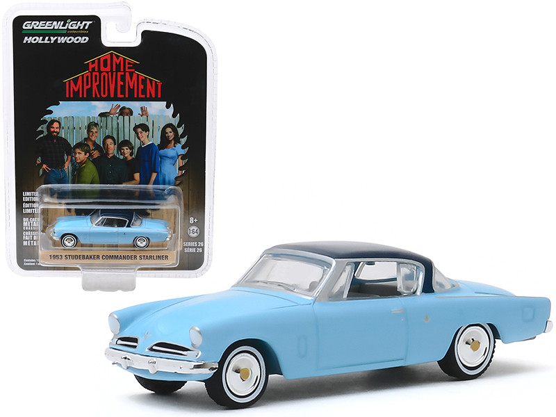 1953 Studebaker Commander Starliner Light Blue Dark Blue Top Wilson's Home Improvement 1991 1999 TV Series Hollywood Series Release 26 1/64 Diecast Model Car Greenlight 44860 D