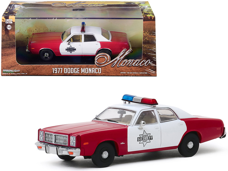 1977 Dodge Monaco Burgundy White Finchburg County Sheriff 1/43 Diecast Model Car Greenlight 86573